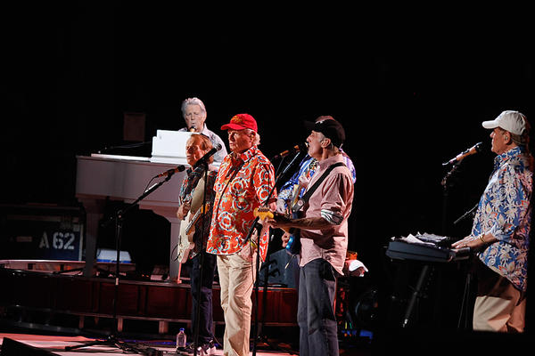 TUCSON, AZ - APRIL 24: Musicians Brian Wilson, Al Jardine, Mike Love, David Marks and Bruce Johnston perform during the Beach Boys 50th Anniversary Concert Tour at the Anselmo Valencia Amphitheater on April 24, 2012 in Tucson, Arizona. (Photo by Mike Moore/Getty Images)