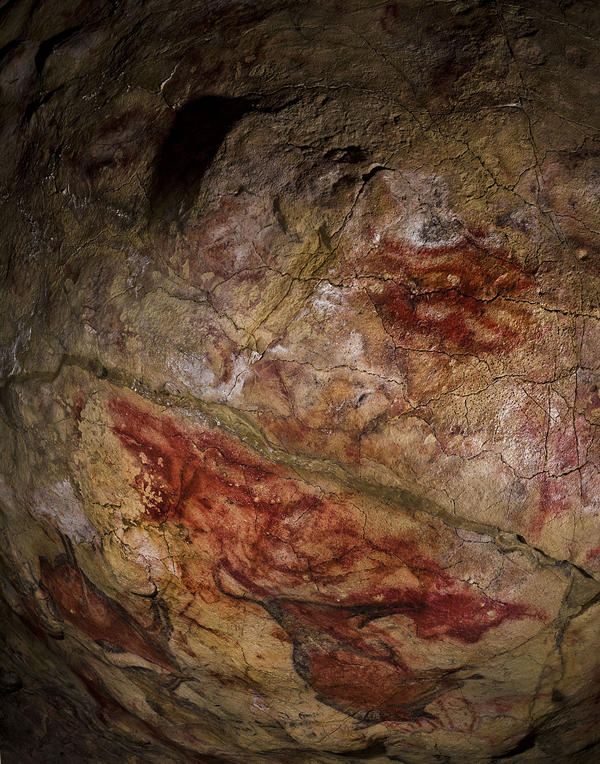 The symbol on the ceiling of the Altamira Cave in Spain has been dated to earlier than 35,600 years ago, making it some 20,000 years older than the bison in the background.