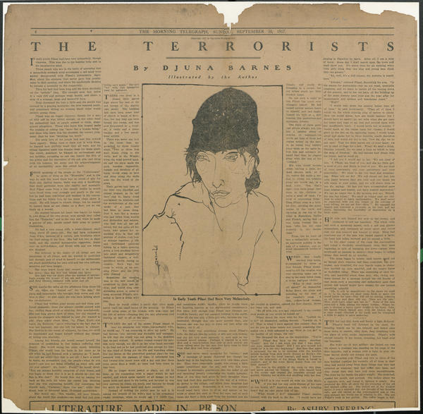 """As in her <em>Daily Eagle</em> piece and this 1917 <em>New York Morning Telegraph Magazine</em> spread, Barnes often provided illustrations for her stories. (Click <a href=""""http://media.npr.org/assets/artslife/arts/2012/06/the-terrorists.jpg"""" target=""""_blank"""">here</a> to read the story.)"""