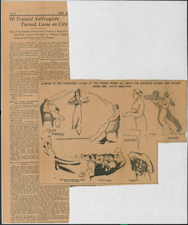 """In a 1913 <em>Brooklyn Daily Eagle</em> piece<em>,</em> Barnes wrote about suffragist schools that train women to assert their rights in a ladylike fashion. (Click <a href=""""http://media.npr.org/assets/artslife/arts/2012/06/70-trained-suffragists-turned-loose-on-city.jpg"""" target=""""_blank"""">here</a> to read it.)"""