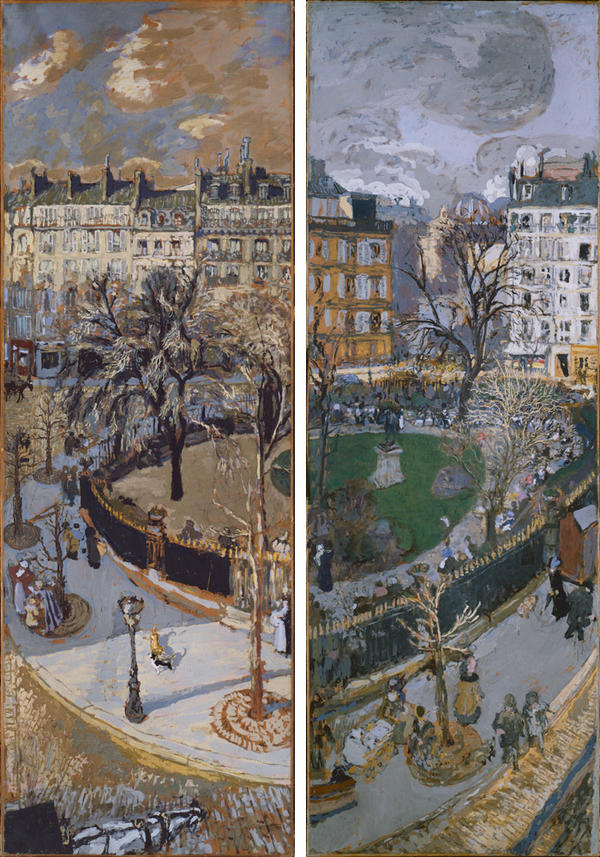 Vuillard created several paintings of a park he could see from his Paris window. These panels (1908-1910) depicting Place Vintimille were commissioned by his patrons.