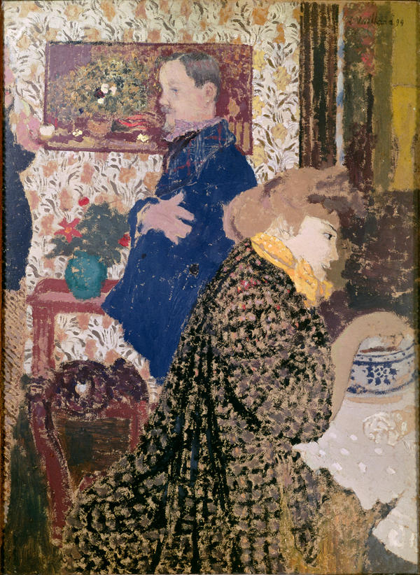 Vuillard depicts Misia Natanson and artist Felix Vallotton in this 1899 oil on cardboard:<em> Vallotton and Misia in the Dining Room at Rue Saint-Florentin.</em>
