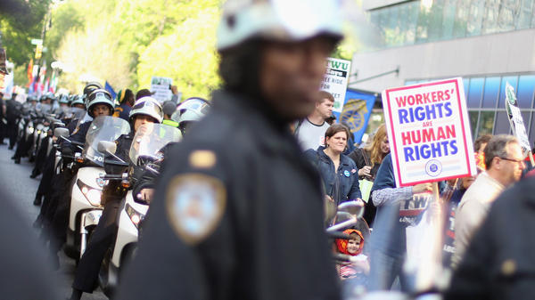 Occupy Wall Street protesters joined with unions in New York on May 1, a traditional day of global protests in sympathy with unions and leftist politics.
