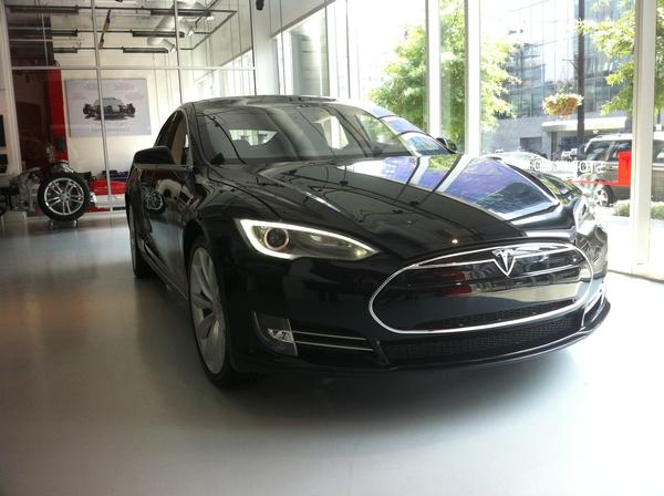 The Model S electric sedan sits in a Tesla showroom in Washington, D.C.