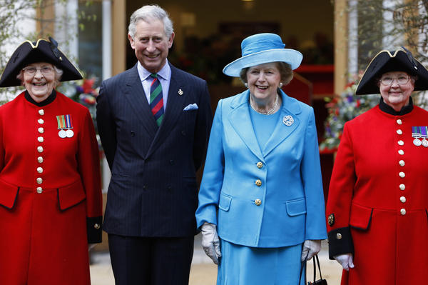 Britain's Prince Charles and Margaret Thatcher are joined by the first female Chelsea pensioners, Dorothy Hughes (left) and Winifred Phillips, as they attend the opening of the new Margaret Thatcher Infirmary at London's Royal Hospital Chelsea, March 25, 2009.