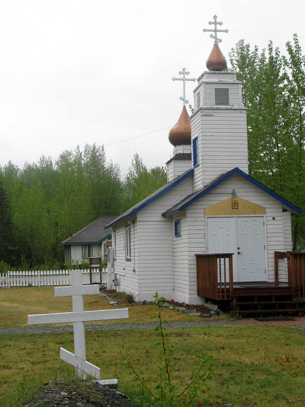 The Eklutna Cemetery includes a few full-sized buildings, as well, such as this Russian Orthodox church.