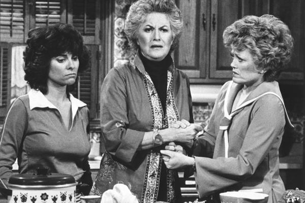Bea Arthur (center) starred with Adrienne Barbeau (left) and Rue McClanahan in the socially controversial '70s TV show <em>Maude,</em> a spin-off of <em>All in the Family</em> that Lear also created, developed and produced.