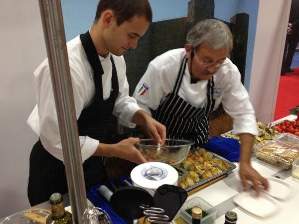 Chef Mino Massi and his son Robi prep food from Puglia at the Washington, D.C. convention center.