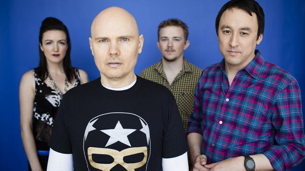 The Smashing Pumpkins in 2012 (from left): Nicole Fiorentino, Billy Corgan, Mike Byrne and Jeff Schroeder.