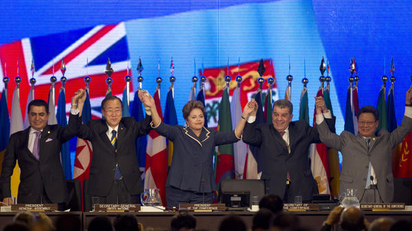 U.N. General Assembly President Nassir Abdulaziz Al-Nasser, United Nations Secretary General Ban Ki-Moon, Brazilian President Dilma Rousseff, Brazil's Secretary of the Conference Luis Figueiredo Machado and Rio+20 Secretary General Sha Zukang attend the closing ceremony of the Conference on Sustainable Development in Rio de Janeiro on Friday.