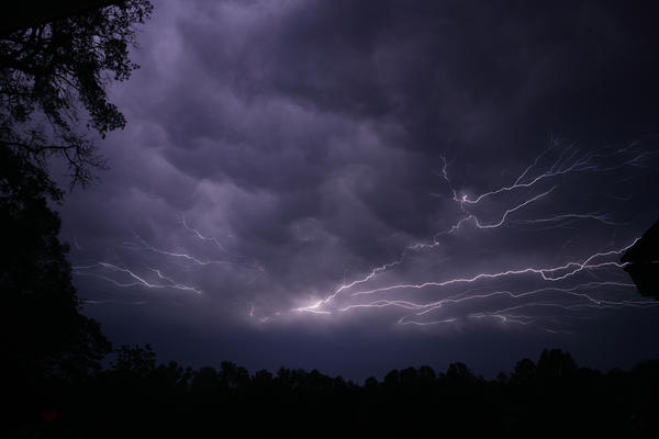 Lightning streaks across the sky in Tyler, Texas, as a powerful line of thunderstorms moved across the state in April.