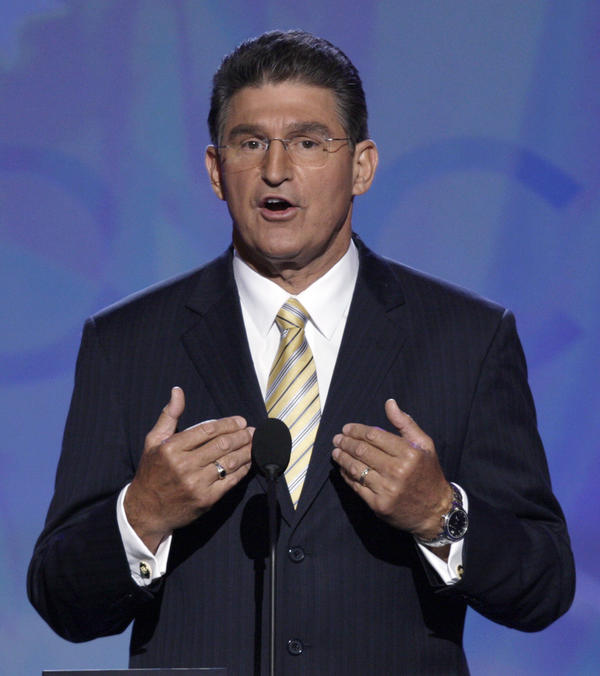 Joe Manchin, then-governor of West Virginia, speaks at the 2008 Democratic National Convention in Denver. Now a U.S. senator up for re-election, Manchin said he won't attend the convention in Charlotte, N.C.