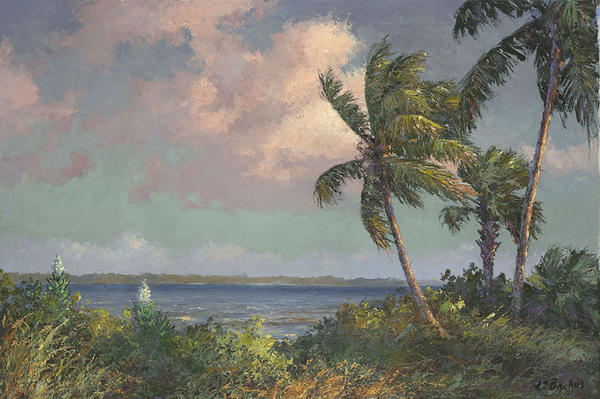 <em>Spanish Bayonets on the Indian River.</em> This painting by A.E. Backus suggests an influence on The Highwaymen