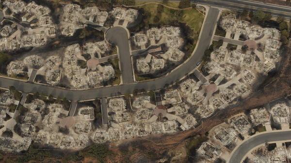 This aerial photo taken Thursday shows the destructive path of the Waldo Canyon fire in the Mountain Shadows subdivision area of Colorado Springs, Colo.