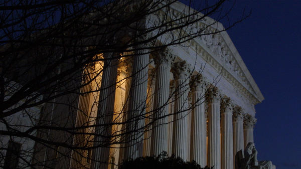 The U.S. Supreme Court on the eve of a hearing about the Florida presidential election recount, Nov. 30, 2000. The justices later ruled 5-4 in the case of <em>Bush v. Gore</em>, effectively deciding the outcome of the presidential race.