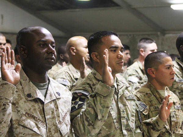 Troops from 24 countries became U.S. citizens at the naturalization ceremony.