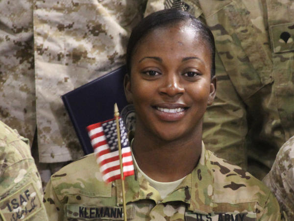 Army Pfc. Shaeyon Klemann was born in Jamaica before moving to Richmond, Va., at age 19 to live with her father.