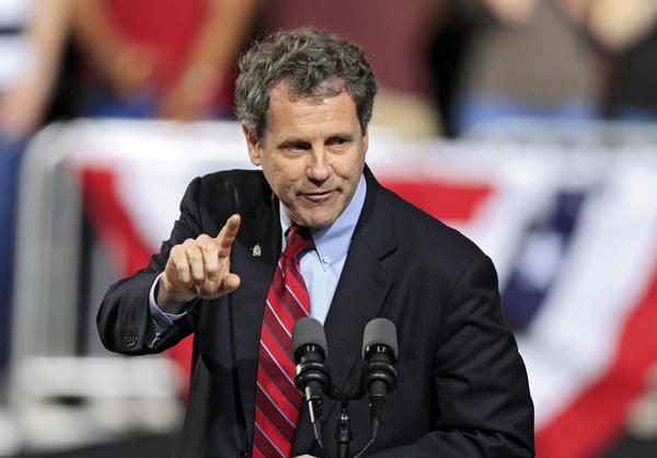 "Democratic Sen. Sherrod Brown speaks in Columbus, Ohio, in May. Brown, who is up for re-election this year, says he wakes up every day ""trying to figure out how to create jobs."""