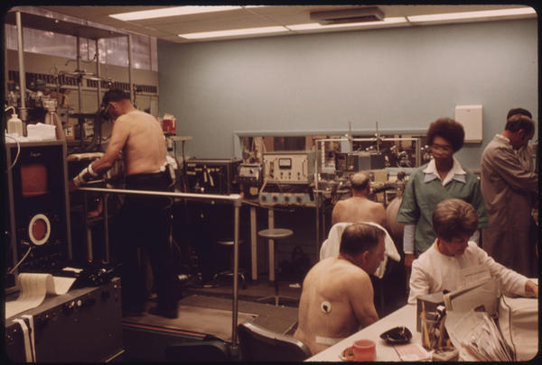 Miners undergo tests in the black lung laboratory at the Appalachian Regional Hospital.