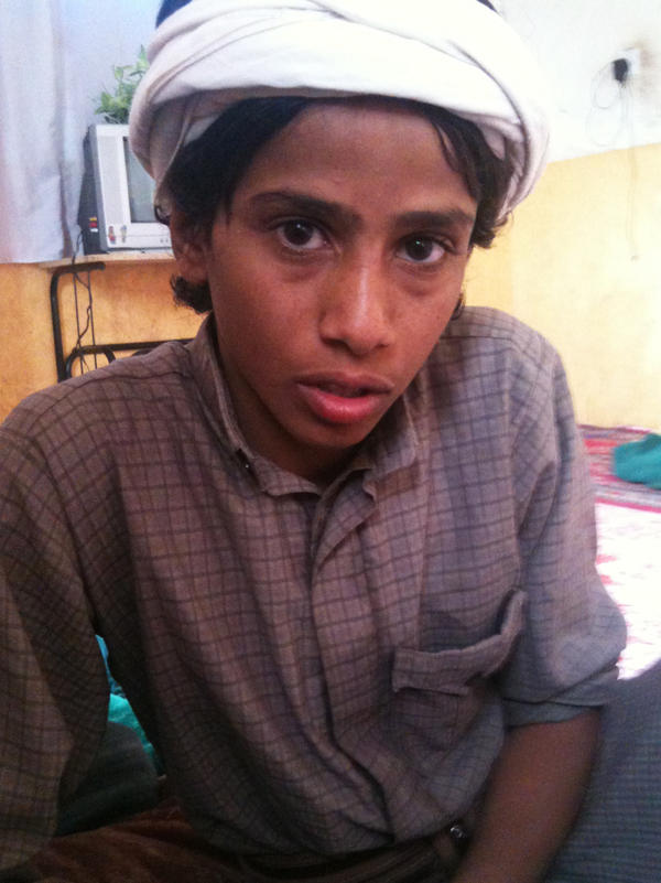 Azzedine Saleh Qaid, 15, witnessed the killing of his father and brother in an airstrike last Oct. 14.  Azzedine says he now wants revenge against America for the deaths.