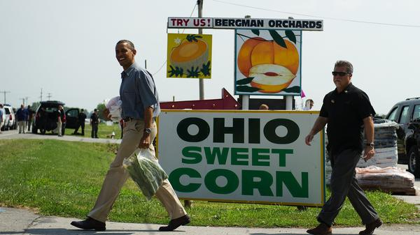 President Obama at a stop on his bus tour of Ohio in Port Clinton on July 5.