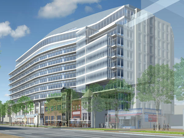 An artist's rendering of the future headquarters of the Association of American Medical Colleges shows how old brick buildings will be incorporated into the new building in Washington, D.C.