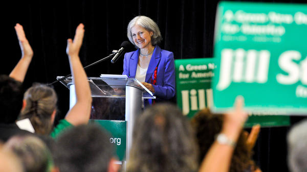 Green Party presidential candidate Jill Stein delivers her acceptance speech at the party's convention in Baltimore on Saturday.