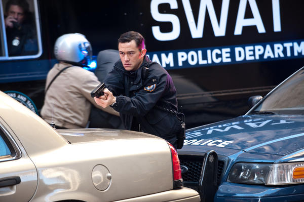 Joseph Gordon-Levitt as police officer John Blake in <em>The Dark Knight Rises</em>.