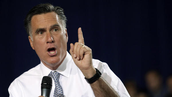 GOP presidential candidate Mitt Romney speaks at a campaign rally in Bowling Green, Ohio, on Wednesday.