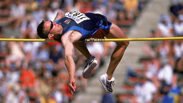 Nathan Leeper of the United States jumps during the IAAF World Championships in this photo from 2001. A high jumper, Leeper is one of several athletes whose name suited their sport.