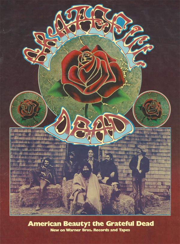 A promotional poster for The Grateful Dead's 1970 album <em>American Beauty</em>.