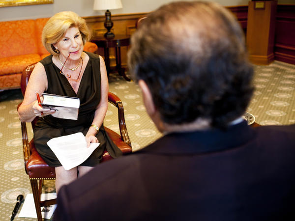Nina Totenberg interviews Justice Antonin Scalia at the Supreme Court on Tuesday.
