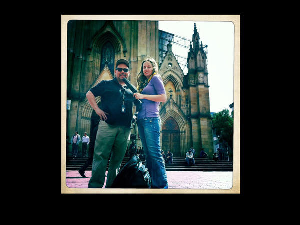 Alt.Latino hosts Felix Contreras and Jasmine Garsd in front of the Lourdes Cathedral in downtown Bogota.