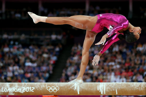 U.S. gymnast Gabrielle Douglas competes on the balance beam in the Artistic Gymnastics Women's Individual All-Around final.