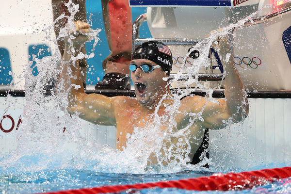 Tyler Clary of the United States celebrates after winning the gold in the Men's 200m Backstroke final.