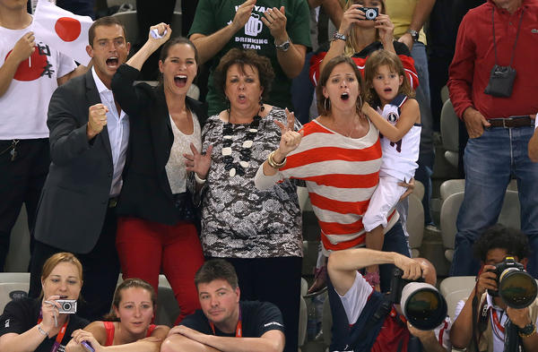 The Phelps family cheers for Michael during the Men's 200m Individual Medley final.