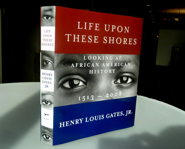 """<strong><em>Life Upon These Shores</em></strong><strong> by Henry Louis Gates, Jr.: </strong>""""The author wanted an image 'out of time,' not specific to any one era, because the book spans centuries. I culled the conceptual emphasis from the word 'Looking' in the subtitle, and then augmented that with basic elements of the American flag."""""""