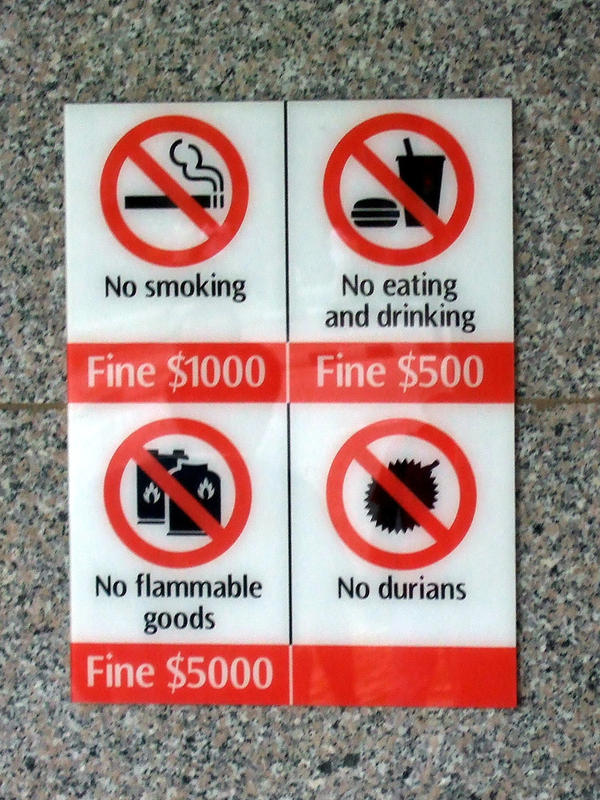 Durians make this banned items list in Singapore.