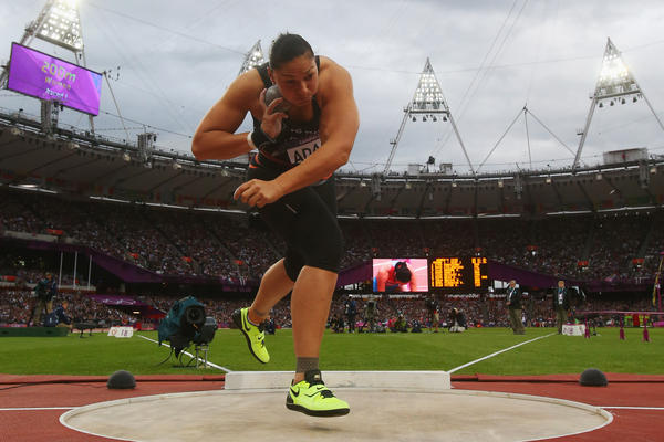 Valerie Adams of New Zealand competes in the women's shot-put final. She placed second in the event.