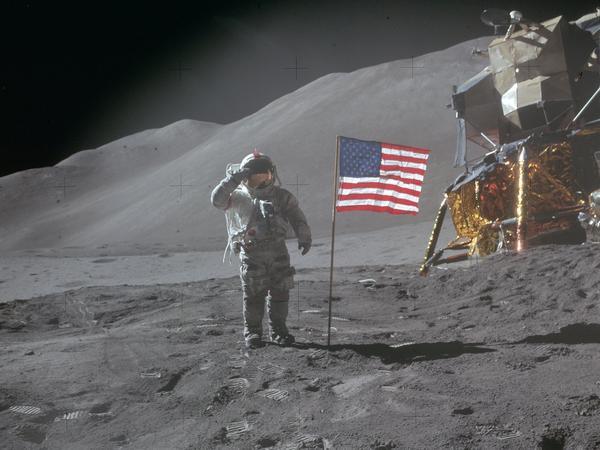 Apollo 15 commander David R. Scott landed on the moon on July 30,1971, near the Salyut crater.