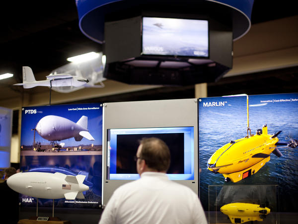 Manufacturers at the conference showed a wide range of unmanned vehicles used in the air, on land and in the sea.