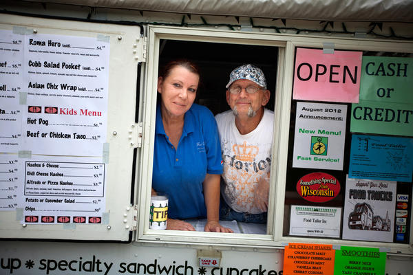 Patricia and Steven Cumber run the Food Tailor food truck in downtown Oshkosh, Wis. It's their primary source of income after Steven lost his job as a welder.