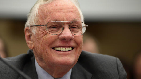 Neil Armstrong testifies before a House panel about human space flight in 2011. Armstrong died on Saturday at 82.