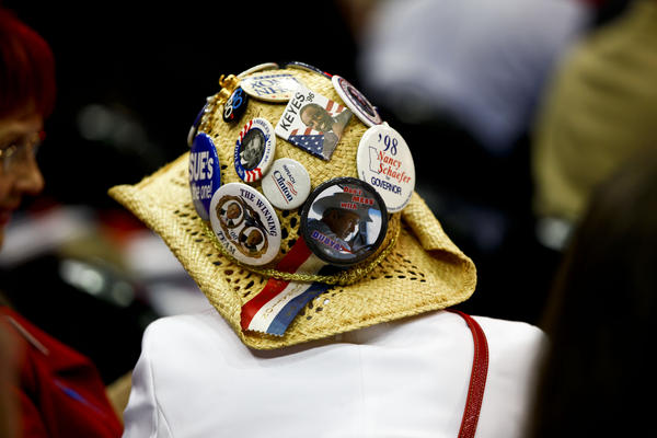 One of many button-heavy hats at the RNC.