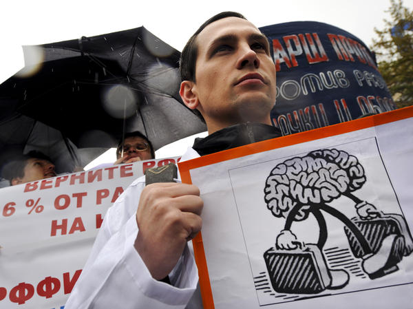 Russia is suffering from an exodus of educated, talented citizens, including scientists. Here, scientists rally in Moscow to demand the government increase funding for science last October.
