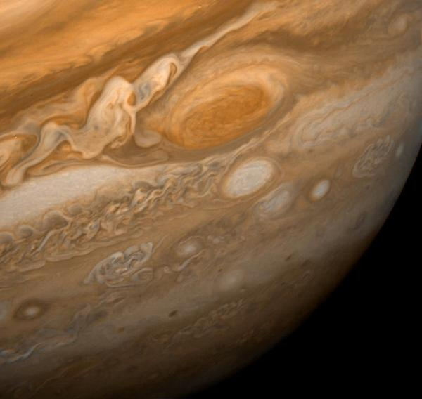 The Great Red Spot on Jupiter, seen here in an image from Voyager 1 taken on Feb. 25, 1979, is a giant, hurricane-like storm in Jupiter's atmosphere. It's been documented for at least 400 years by astronomers viewing the planet through telescopes.