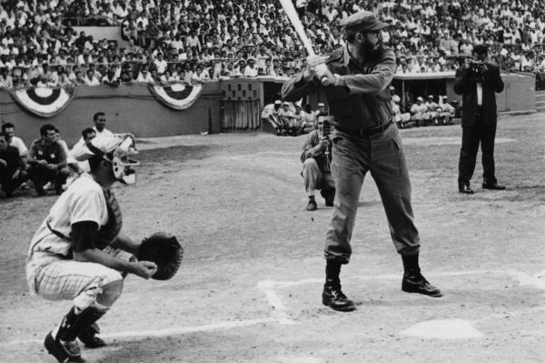 Castro was a huge fan and supporter of baseball, attending many games and participating in intramural competitions when he was in college. He's shown playing the game in 1965.