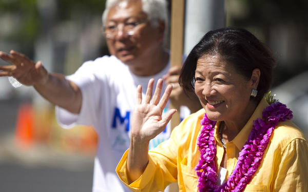 Democratic Rep. Mazie Hirono campaigns in Honolulu on Aug. 11.