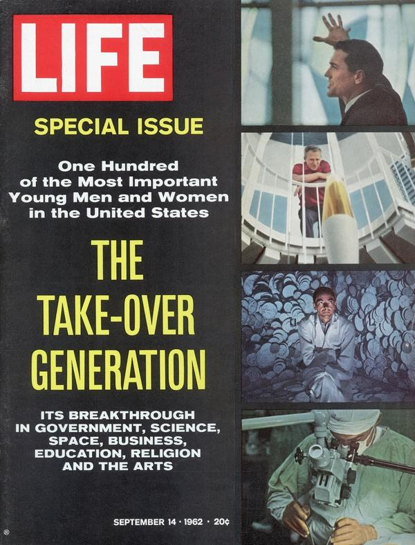 "<em>Life</em> magazine cover from the <a href=""http://bit.ly/U4zliA"">Sept. 14, 1962, issue</a> profiling promising young Americans of the time."