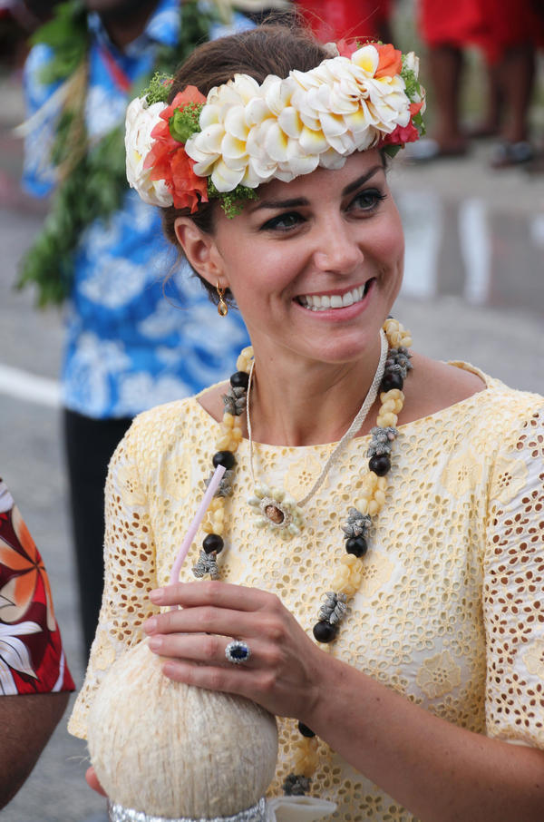 Kate Middleton, the Duchess of Cambridge, was visiting the Polynesian island of Tuvalu earlier today.